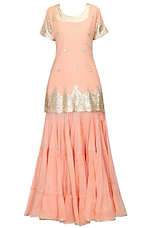 Peach and gold gota patti work kurta and frilled skirt set