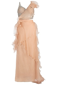 Nude Embroidered Ruffle Skirt Saree with Blouse