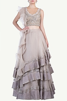 Oyster Embroidered Lehenga Set by Sonaakshi Raaj