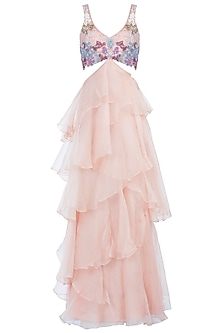 Peach Embroidered Ruffle Gown