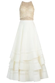 Ivory Ruffle Embroidered Lehenga Set
