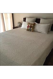 Sonnet Splendour White Applique Bedcover by Karmadori