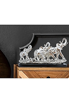 Silver Plated Elephant Family Figurine (L) by Shaze