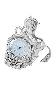 Silver horse with clock by Shaze