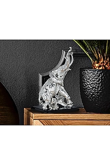 Silver Plated Elephant On Trunk Figurine (L) by Shaze