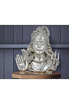 Omniscient Idol Silver Plated Satin Shiva Head (L) by Shaze
