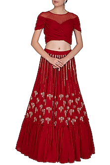 Scarlet Red Embroidered Lehenga Skirt With Blouse by Aashna Behl
