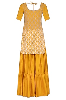 Marigold Yellow Embroidered Gharara Set by Aashna Behl