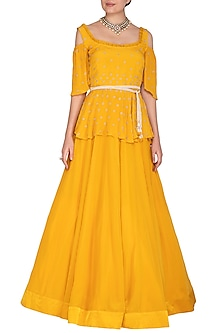 Marigold Yellow Embroidered Peplum Top With Skirt & Belt by Aashna Behl