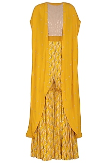 Marigold Yellow Embroidered Cape With Blouse & Printed Pants by Aashna Behl
