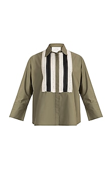 Olive Green Detailed Top by Amit Aggarwal
