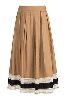 Dark Beige Pleated Midi Skirt by Amit Aggarwal