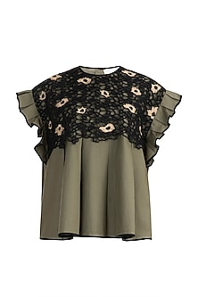 Olive Green Embroidered Ruffled Top by Amit Aggarwal
