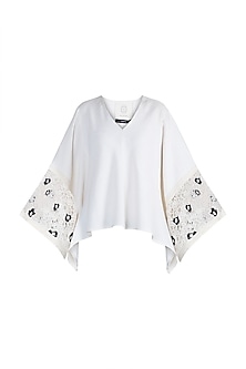 White Embroidered Top by Amit Aggarwal