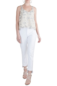 White Embroidered Cotton Top by Amit Aggarwal