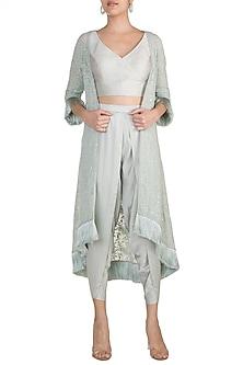 Grey Embellished Jacket by Aarti Mahtani