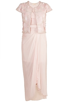 Pink Bustier With Dhoti Skirt & Embellished Jacket by Aarti Mahtani