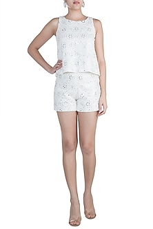 Ivory Embellished Top by Aarti Mahtani