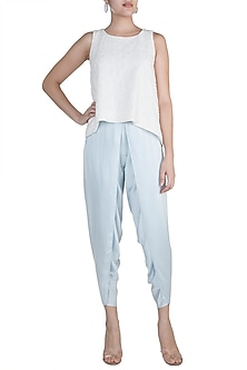 Ivory Embellished Top With Blue Dhoti Pants by Aarti Mahtani