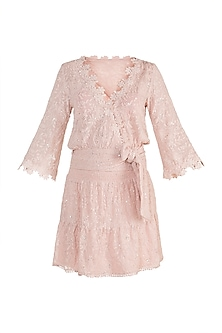 Pink Embellished Top With Mini Skirt by Aarti Mahtani