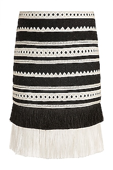 Black & White Embroidery Skirt by Aarti Mahtani