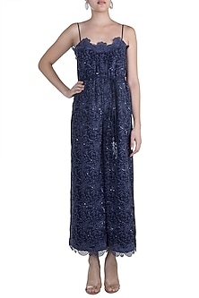 Navy Blue Embellished Jumpsuit With Belt by Aarti Mahtani