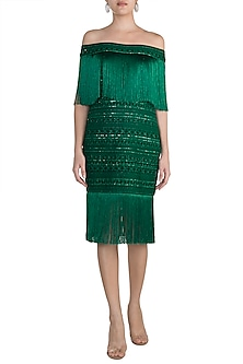 Emerald Green Embellished Dress by Aarti Mahtani