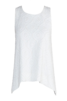Ivory Embellished Swing Top by Aarti Mahtani