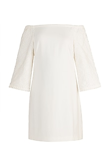 Ivory Embellished Off Shoulder Dress by Aarti Mahtani