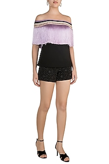 Black & Purple Fringe Embellished Top by Aarti Mahtani