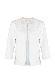 Blue Embellished Jacket by Aarti Mahtani