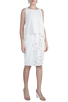 Ivory Embellished Skirt by Aarti Mahtani