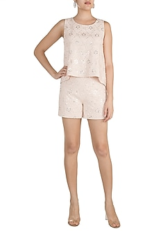 Pink Embellished Swing Top by Aarti Mahtani