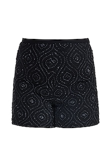 Black Embellished Shorts by Aarti Mahtani