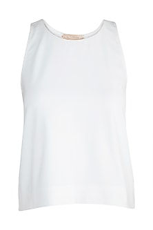 Ivory Mirror Embellished Swing Top by Aarti Mahtani