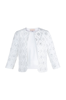 Ivory Mirror Embellished Jacket by Aarti Mahtani