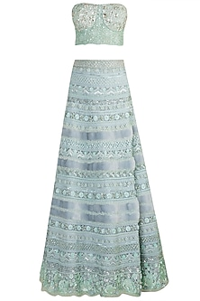 Blue Embellished Fur Lehenga Set by Aarti Mahtani