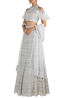Icy Blue Embellished Cold-Shoulder Lehenga Set by Aarti Mahtani