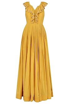 Mariegold Yellow Ruffle Anarkali by Aashna Behl