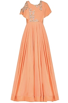 Coral Peach Cold Shoulder Gown by Aashna Behl