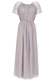Lilac Embroidered Midi Dress by Aashna Behl