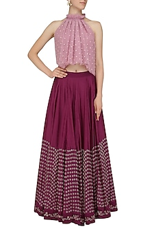 Onion Pink Embroidered Top with Plum Pink Embellished Lehenga by Aashna Behl