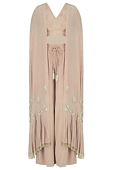 Hazelnut Embroidered Cape and Palazzo Set by Aashna Behl