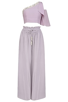 Lilac Embroidered Top with Mist Grey Frill Pants