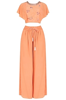 Coral Peach Embroidered Top with Flared Pants