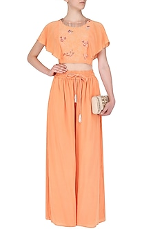 Coral Peach Embroidered Top with Flared Pants by Aashna Behl