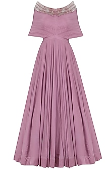 Onion Pink Pleated Tassel Gown