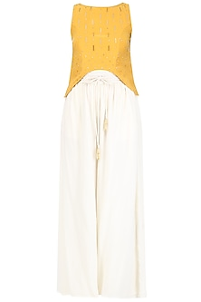 Mariegold Yellow Asymmetric Top with Ivory Pants Set