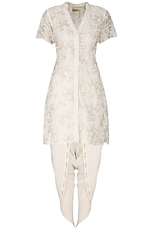Ivory Cutwork Embroidered Jacket with Dhoti Pants