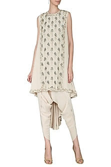 Ivory Embroidered Asymmetrical Jacket with Dhoti Pants by Aashna Behl